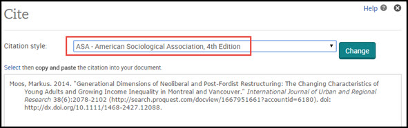 [Example of an ASA style citation being created by the database]