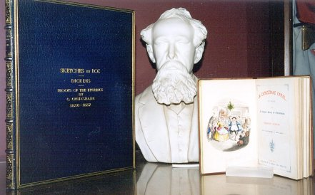 [Charles Dickens bust]