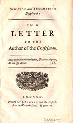 [Sedition and Defamation Display'd: in a Letter to the Author of the Craftsman]