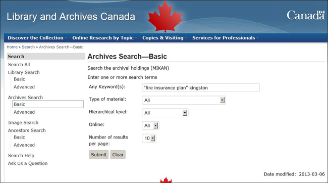 [Library and Archives Canada Search]