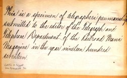 [Example of telegrapher's penmanship]