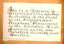 [Example of telegrapher's penmanship]