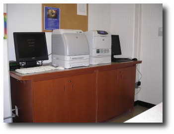 [Printer stations in the Education Library]