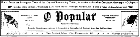 [Newspaper: 'O Popular' (New Bedford, Massachusetts). Language: Portuguese]