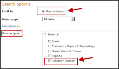 Limit by date, to English language, or to Journal Articles only