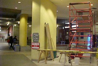Construction in the Stauffer Library Rotunda