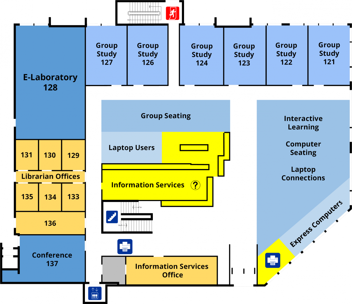 Bracken Health Sciences Library main level floorplan