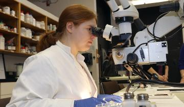 A female student looking through a microscope