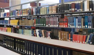 A picture of books in the library