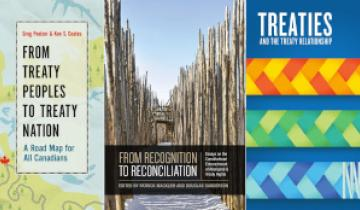 "A collage of three books about treaties for Treaty Recognition Week. This includes ""From Treaty Peoples to Treaty Nation A Road Map for All Canadians"", ""From Recognition to Reconciliation"", and ""Treaties And the Treaty Relationship"""