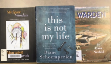 "Books: titled ""My spirit wonders"", ""this is not my life"" and ""warden"""