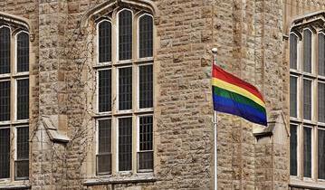 Pride flag on campus