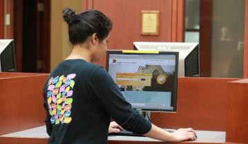 Student using desktop computer