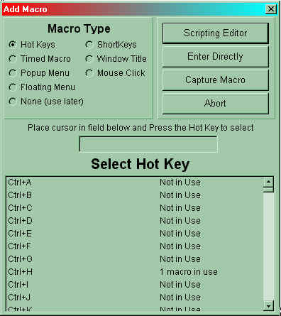 Macro Express Add Macro Screen